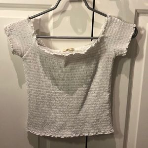 Hollister white waffled top